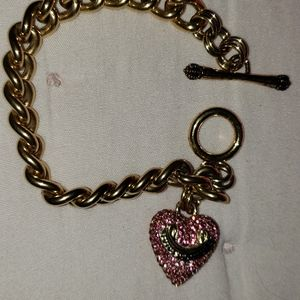 Juicy Couture Pink Pave Rhinestone Charm Bracelet